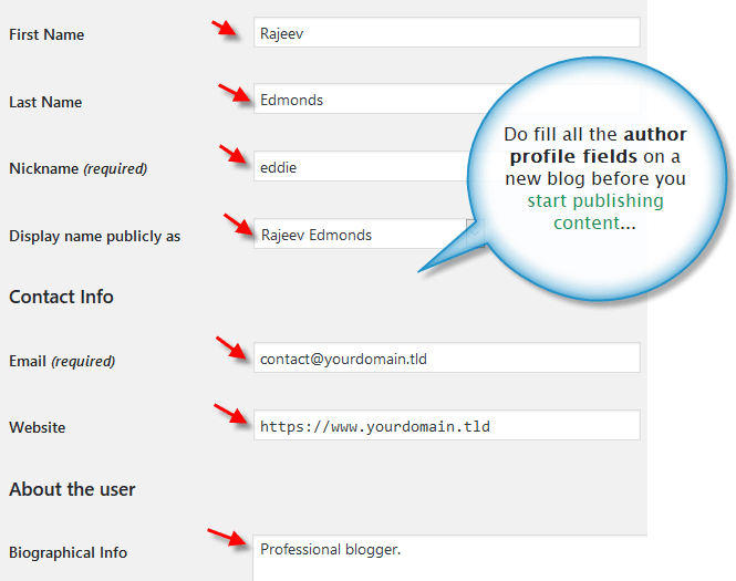 WordPress author profile details
