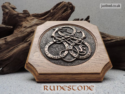 Runestone - bronze & oak wall plaque from Justbod