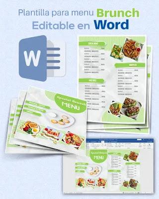 Plantilla de menú de brunch para editar en Word