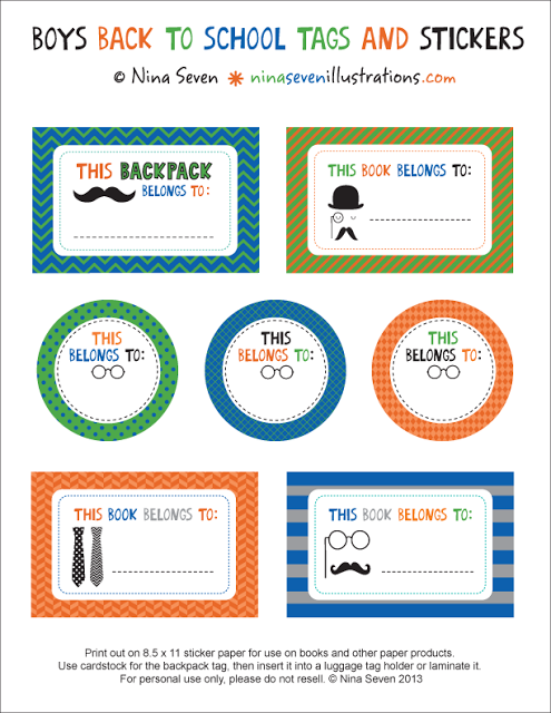picture about Printable Backpack Tags identify Be DifferentAct Organic: Totally free Printable Bookplates [Again
