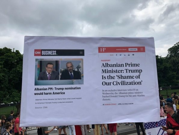 Albanians protest before the White House against George Soros