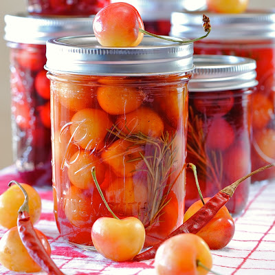 Spicy Sweet Savory Pickled Cherries