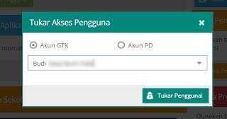 memasukkan kode registrasi dapodik saat tukar pengguna