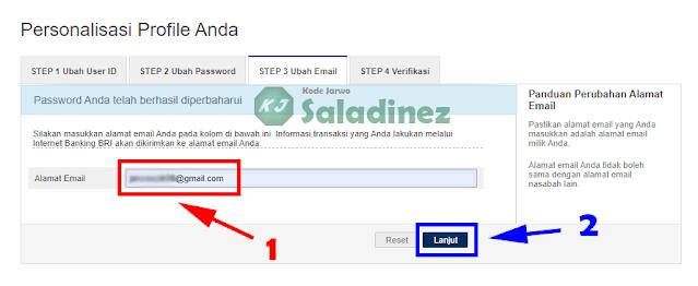 Halaman ubah email IB BRI
