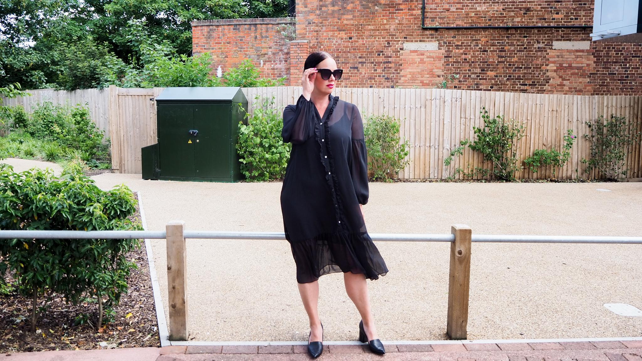 black chiffon midi dress with ruffles