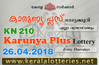 Kerala Lottery Results: 26-04-2018 Karunya Plus KN-210 Lottery Result