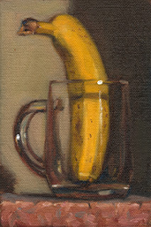 Still life oil painting of an upright banana in a glass mug.