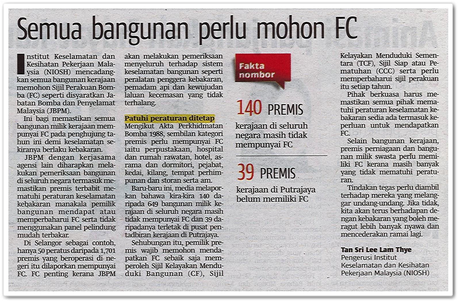 Semua bangunan perlu mohon FC - Keratan akhbar Berita Harian 13 Jun 2019