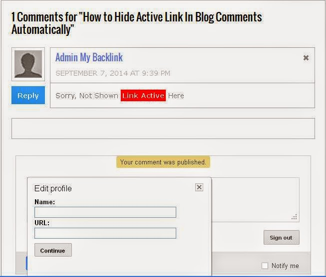 How to Hide Active Link In Blog Comments Automatically