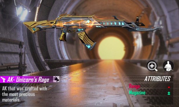 Weapon Royale AK Golden Unicorn Terbaru Free Fire