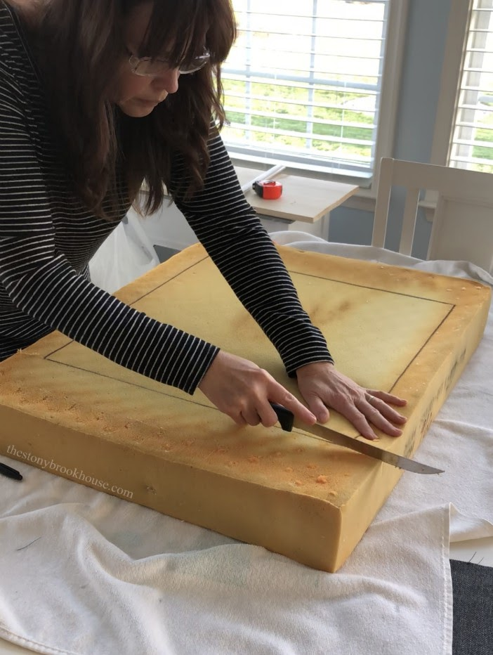 cutting foam for ottoman top