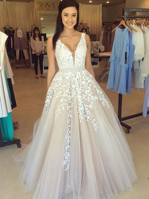 V-neck Princess Floor-length Tulle with Appliques Lace Glamorous Prom Dresses
