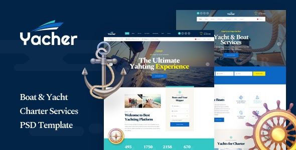 Boat & Yacht Charter Services PSD Template