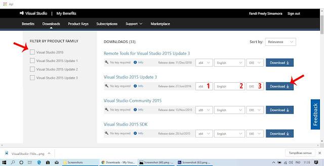 Pilih Versi Lengkap Visual Studio yang Ingin Didownload