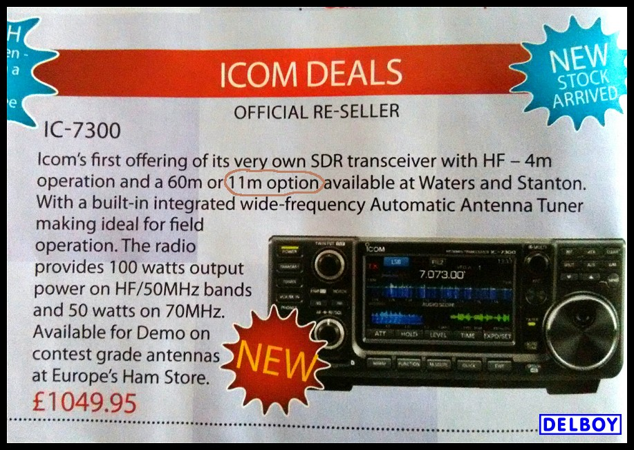 Delboy's Radio Blog: Icom IC-7300 - CB Band Optional?