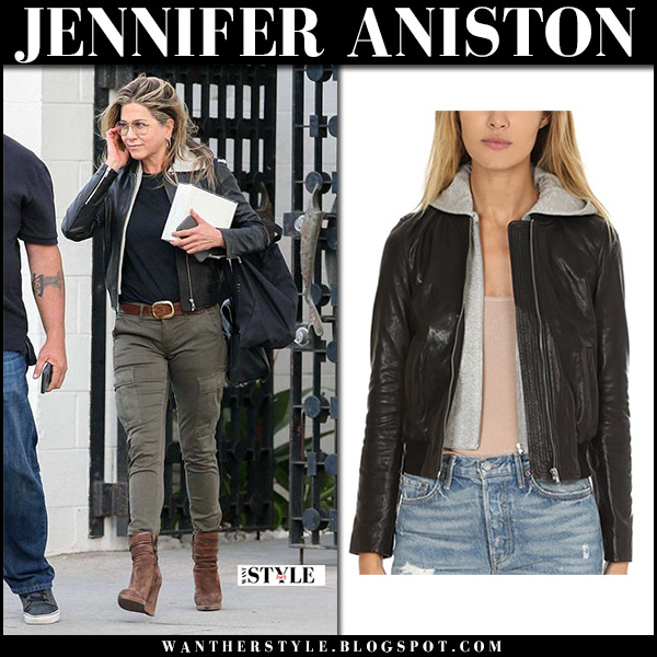 Jennifer Aniston in black leather cropped jacket alc edison, green cargo pants and brown wedge boots michael kors parker street style april 5