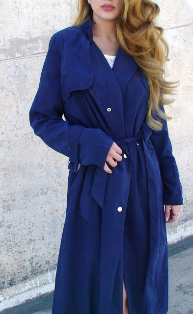navy blue trench outfit