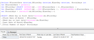SQL SERVER: Get first and last date and week day name of month