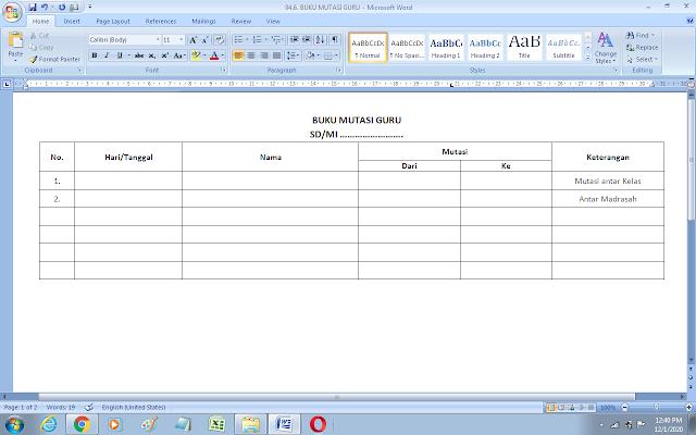 Format buku mutasi guru sekolah/madrasah