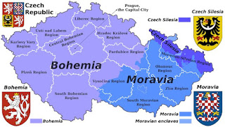 Czech republic showing the borders of its historical lands