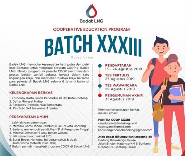 Rekrutmen Program COOP PT Badak LNG Agustus 2019
