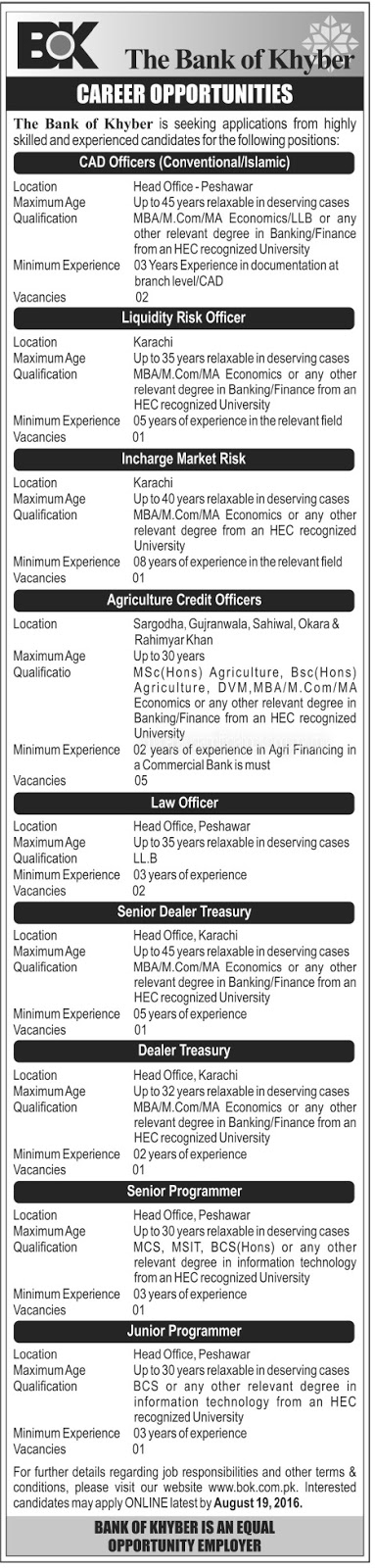 Jobs in The Bank of Khyber Peshawar jobs