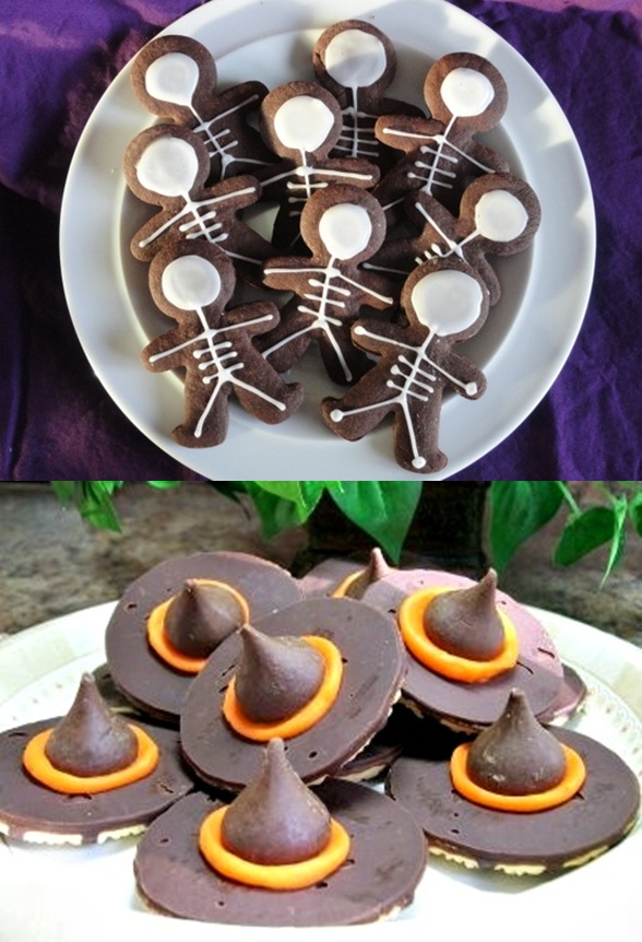 18 fun Halloween food ideas. Creative bats, Skeleton cookies and witch hats cookies for kids. Easy Halloween food ideas for treat. Bets Halloween food ideas for party. Halloween tricks and treat ideas for schools and kids. Easy Halloween spooky cupcakes.