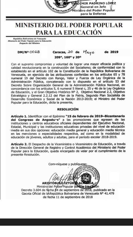 Eponimo para títulos y demás documentos año escolar 2018-2019 Gaceta Oficial N° 41.636: Sumario