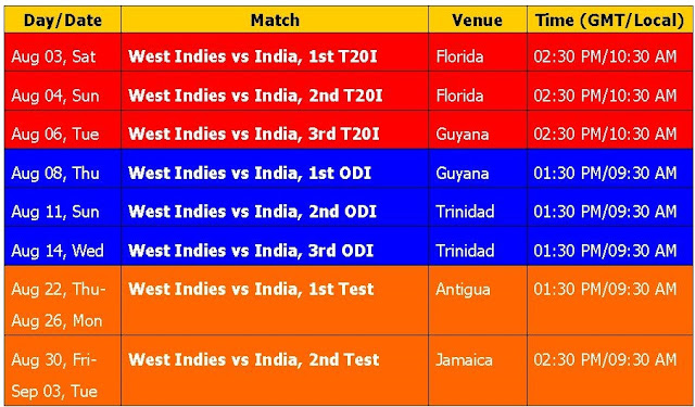 India vs. West Indies 2019 Schedule & Time Table, India Vs. West Indies Fixture, india cricket time table, india cricket 2019 time table, WI Vs. IND series 2019, India tour of West Indies 2019 series, t20 series, cricket, international cricket, odi cricket, india home series schedule, West Indies vs. india cricket series 2019, India tour of West Indies 2019, ICC cricket calendar 2019, test series, place, match time, venue,    India Vs. West Indies 2019 Fixture #Cricket #INDvWI2019