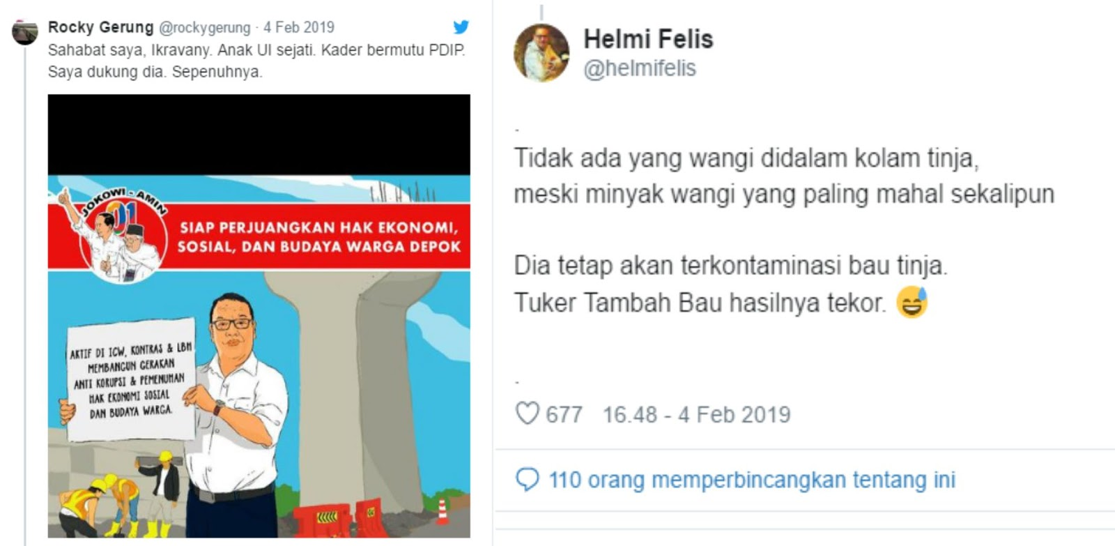 "Rocky Dukung Caleg PDI P, Netizen: ""Kali ini saya tak sepakat Prof, Tidak ada yang wangi didalam kolam tinja, meski minyak wangi yang paling mahal sekalipun"""