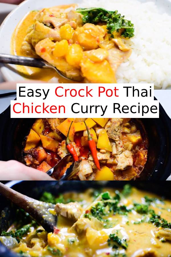 Easy Crock Pot Thai Chicken Curry is one of the easiest meals to make and is so tasty. Curry paste, coconut milk, and ginger add a ton of flavor to this healthy, low-cal, and paleo + gluten-free dinner. Your family will LOVE it! #chicken #chickencurry #slowcooker #crockpotrecipes #chickenrecipes #paleorecipes