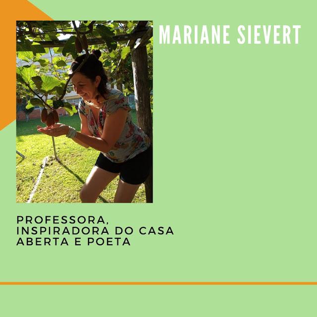 Cartaz sobre a participação da Mariane, com nome e minibiografia