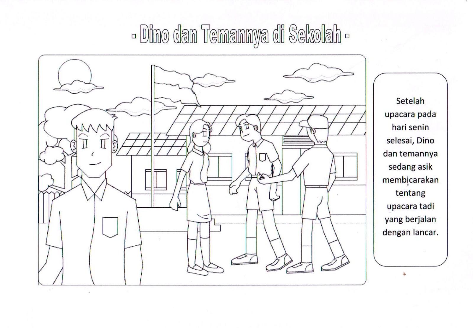 10 Mewarnai Gambar Belajar Sekolah Anak Minggu Bonikids Tk