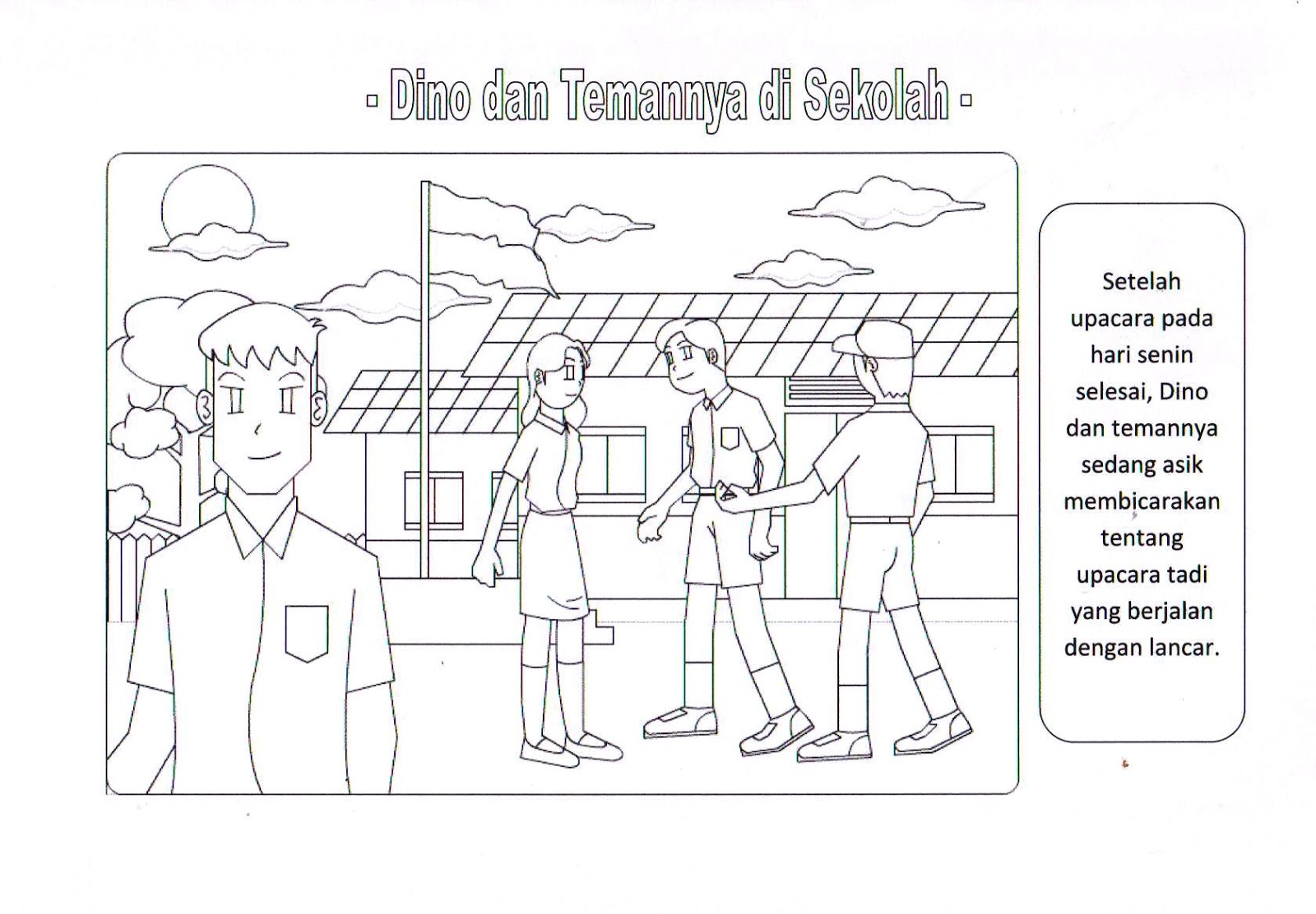 Mewarnai Gambar Lingkungan Sekolah Singlpin