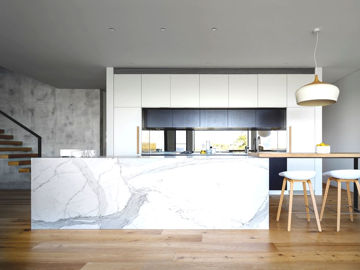 wooden floor marble kitchen