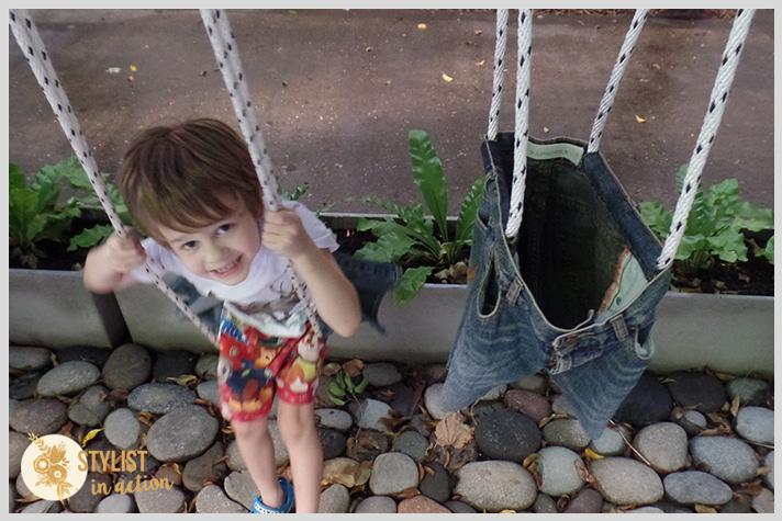 hamaca para bebe y niño reciclando un jean viejo