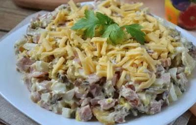 Салат из телятины с маринованными грибами