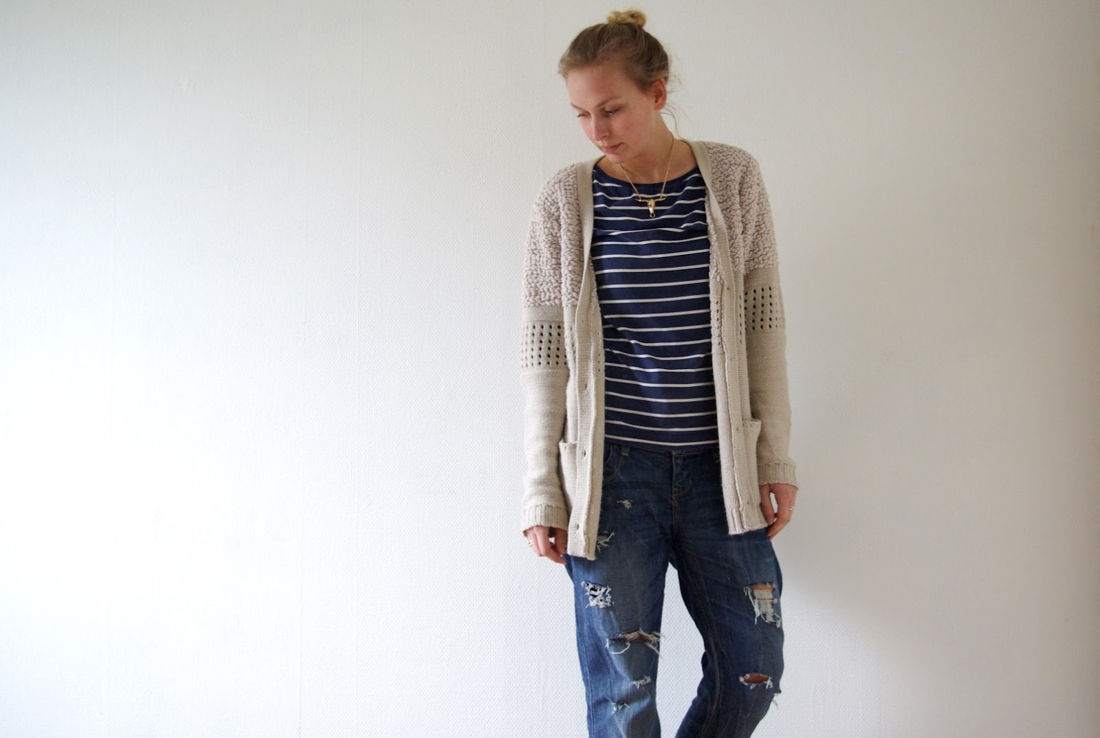 OUTFIT/ Striped and Denim.