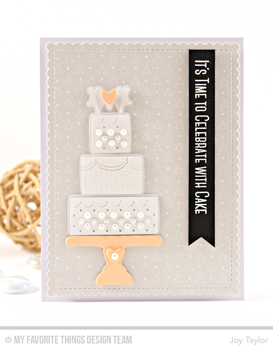 Handmade card from Joy Taylor featuring Lisa Johnson Designs Celebrate With Cake Stamp Set and Die-namics, Transparent Triangles Background stamp, and Blueprints 27 Die-namics #mftstamps