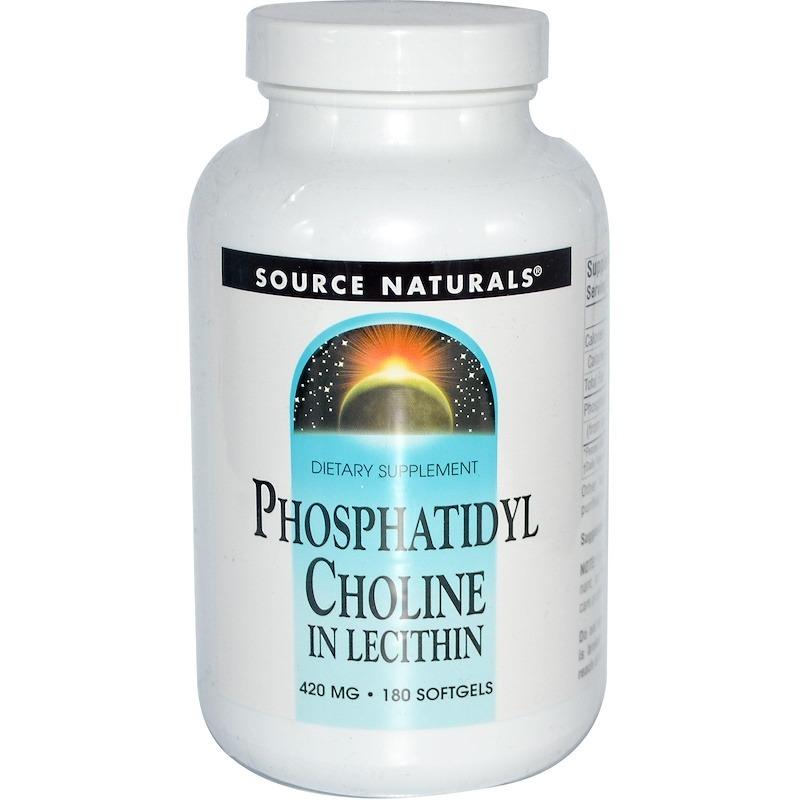 Source Naturals, Phosphatidyl Choline, в лецитине, 420 мг, 180 мягких желатиновых капсул