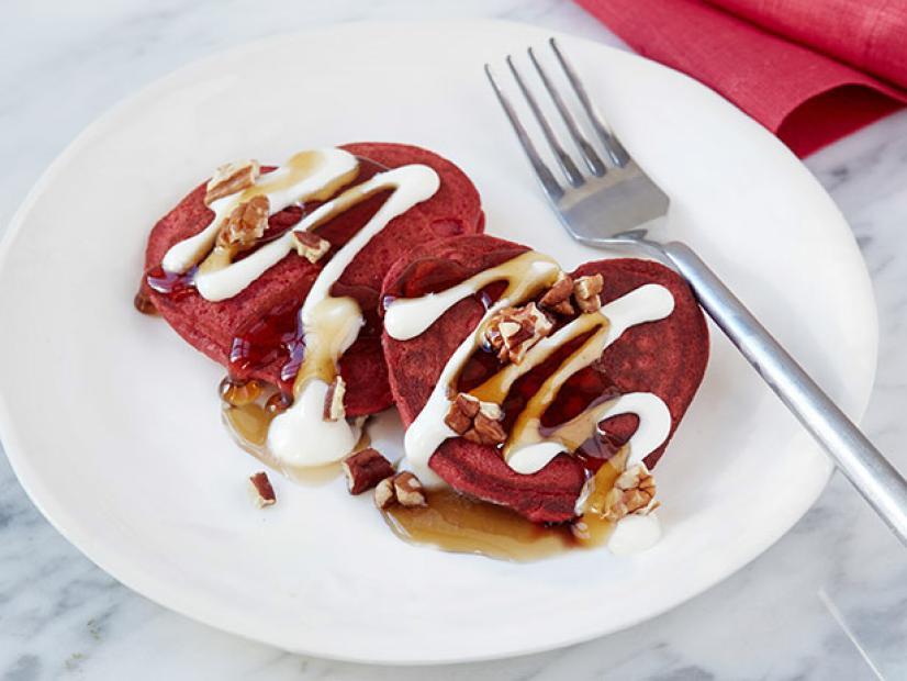 Red Velvet Heart Pancakes
