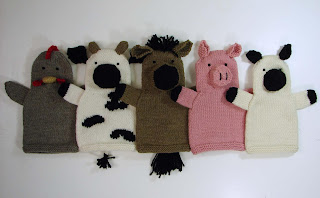 hand, puppet, knit, pattern, menagerie, farm, chicken, cow, horse, pig, sheep