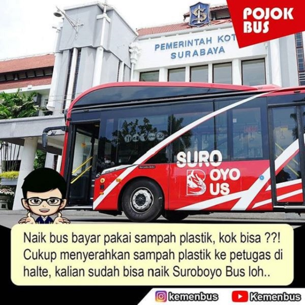 Naik Suroboyo Bus Bayar Pake Sampah