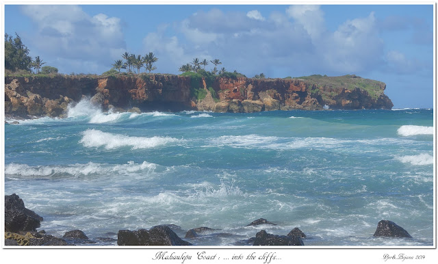 Mahaulepu Coast: ... into the cliffs...