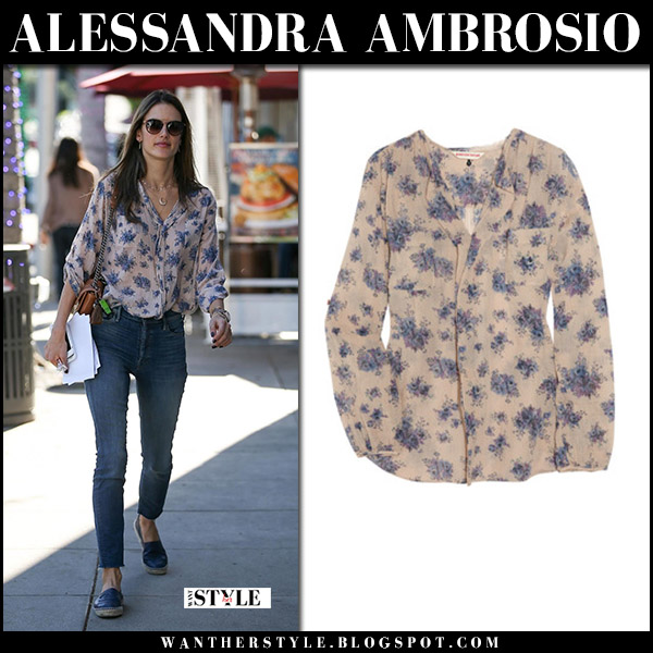Alessandra Ambrosio in beige floral print shirt rebecca taylor, jeans and black espadrilles chanel model style december 12
