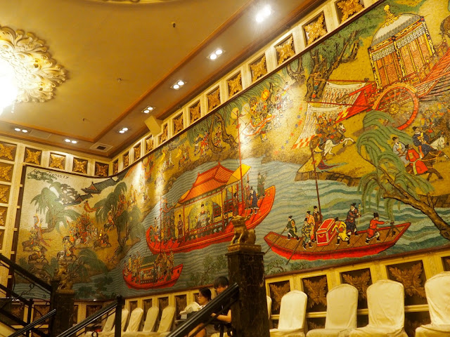 Interior wall art in Jumbo Kingdom floating restaurant near Aberdeen, Hong Kong