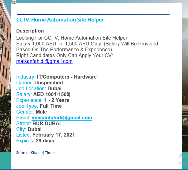 CCTV, Home Automation Site Helper Job Vacancy
