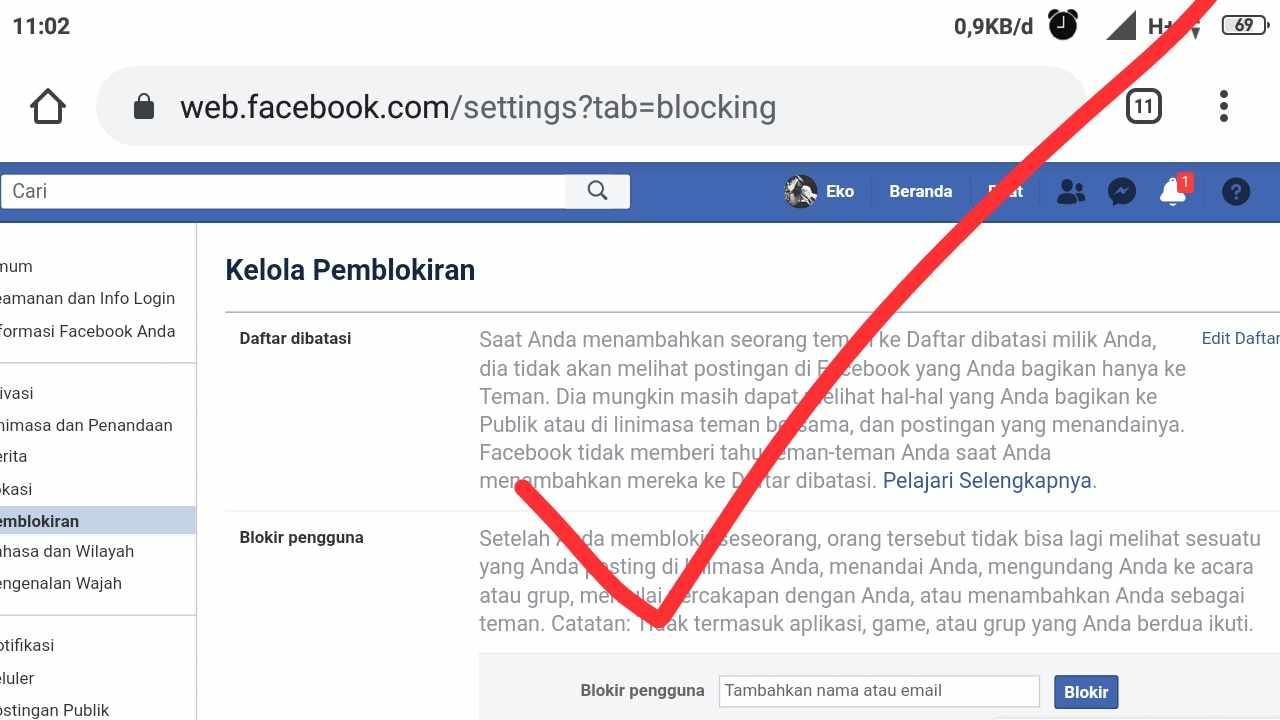 Blokir fb