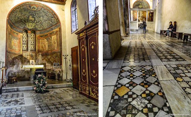 Afrescos e mosaicos na Igreja de Santa Maria in Cosmedin, Roma