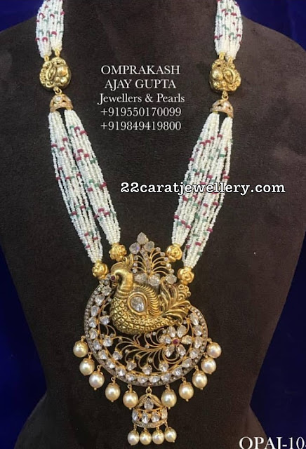 Peacock Pachi Pendant by Omprakash Jewellers